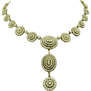 Georgian 14K Closed Backed Pave Prong Set Seed Pearl Necklace