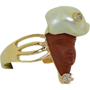 14K Victorian Hand Carved Stone Face Turban Man with Pearl & Diamond Ring