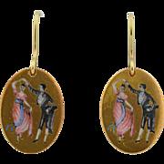 Victorian Enamel Dancing Couple Earrings with 14K Hooks