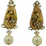 Victorian 10K & Pearl Drop Earrings