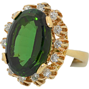 14.5CT Verdelite Green Tourmaline & 1.4CTW Diamond Ring