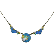 Art Deco Eisenberg Sterling Silver Enamel Bubble Necklace