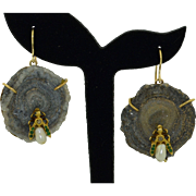 14K Geode Insect (Fly) Earrings with Diamonds Emeralds Sapphires & Pearls