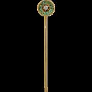 Victorian 14K Emerald and Diamond Halo Stick Pin