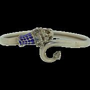 Victorian 800 Silver & Enamel Lion Bypass Bracelet