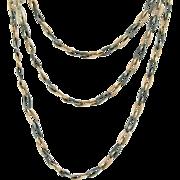 Victorian Extra Long 800 Silver Niello Necklace Rose Gold