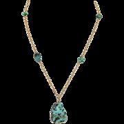 Arts & Crafts 9K Rose Gold Natural Turquoise Necklace