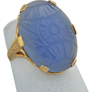 Art Deco 10K Hand Carved Vintage Blue Chalcedony Ring