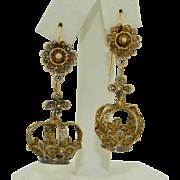 1920's Sterling Silver Gilt Crown Dangle Earrings