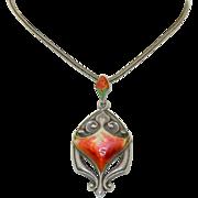 Arts & Crafts Queensway Sterling Silver & Enamel Necklace