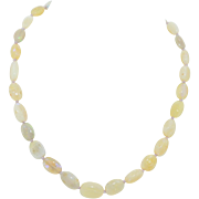 Vintage Graduated Natural Opal Bead Necklace with 14K Clasp