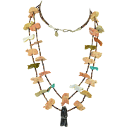 """Zuni Heishi Bead with Fine Hand Carved Fetish Animals 2 strands 27"""""""