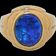 Solid Natural Black Opal Art Deco 10K Ring SZ 8