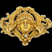 14K Art Nouveau Antique Watch Pin
