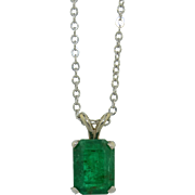 14K White Gold 1.75 Carat Natural Untreated Emerald Necklace