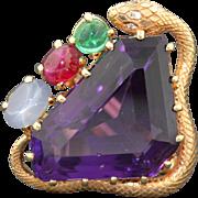 Retro 14K Snake Amethyst Emerald Ruby & Star Sapphire Ring