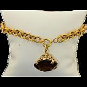 Victorian 10K Belcher Chain Bracelet with A 25CT Smokey Topaz Fob - Charm