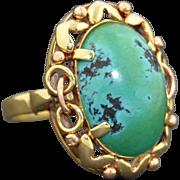 14K Austrian Large Turquoise Ring