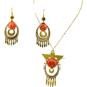 Victorian 14K Yellow Gold & Hand Carved Coral Roses Pendant - Brooch & Earrings Suite - Set