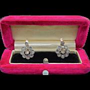 Victorian Rose Cut Diamond Cluster Halo Earrings in 10K & Sterling Silver
