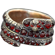 Georgian Coiled Snake Eternity Wide Band with Rose Cut Garnets and Diamonds