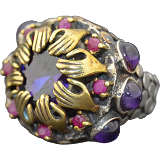 Unusual Sterling Silver Hand Ring with Rubies & Amethysts Signed by KRALICE