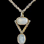 Edwardian Sterling Silver Moonstone Drop Necklace