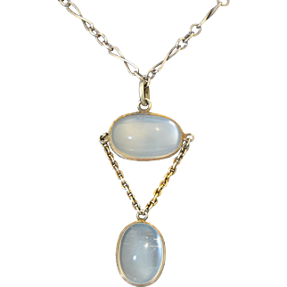 Edwardian Sterling Silver Moonstone Drop Necklace