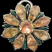 Georgian Foil Backed Citrine & Enamel Sterling Silver Pendant - Earring