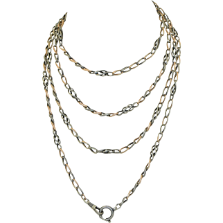 Antique 800 Silver & Rose Gold Gilt Niello Watch Chain Extra Long 59""