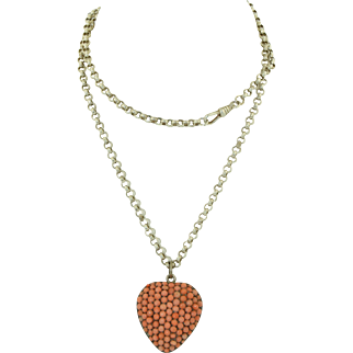 Large Victorian Sterling Silver & Pave Coral Heart Locket with Sterling Watch Chain