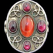 Arts & Crafts Garnet & Carnelian Sterling Silver Ring