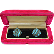 Victorian Sterling Silver Pave Turquoise Earrings