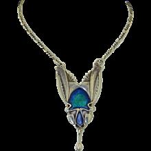 Art Nouveau 800 Silver Swiss Enamel Necklace