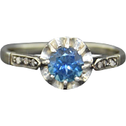 Antique 18K French Sapphire and Diamond Ring