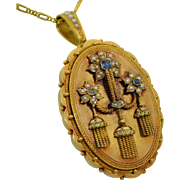 Victorian Regency 18K French Rose Gold Sapphire Diamond & Pearl Locket - Pendant