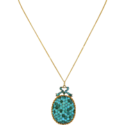 Victorian 9K Pave Persian Turquoise Pendant with 14K Chain