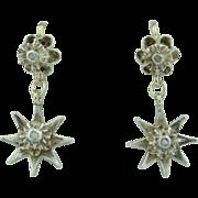 Victorian 10K & Silver with Rose Cut Diamond Star Dangle Earrings