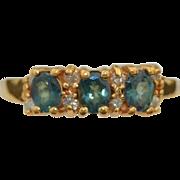 Blue Green Spinel & Diamond 14K Ring