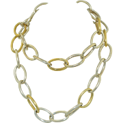 """Sterling Silver & Vermeil Large Link Chain Necklace 28"""""""
