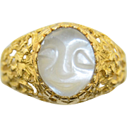 Vintage Moonstone 18K Hand Carved Man on the Moon Face Ring