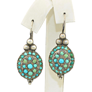 Sterling Silver Pave Persian Turquoise Earrings