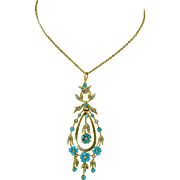 14K Austro Hungarian Victorian Persian Turquoise & Pearl Pendant Necklace