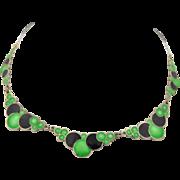 Art Deco Sterling Silver & Enamel Bubble Necklace