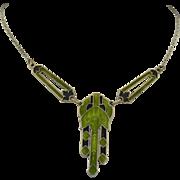 Art Deco Black & Green Enamel Sterling Silver Necklace