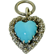 Victorian Sterling Silver Star & Turquoise Heart Charm