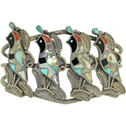 Old Zuni Inlay Sterling Silver Quail Bracelet (Large size)
