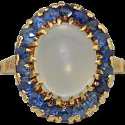 14K Moonstone & Sapphire Halo Ring
