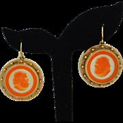 14K Victorian Hand Carved Carnelian Cameo Earrings