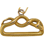 14K Victorian Snake Serpent Pendant Charm Fob